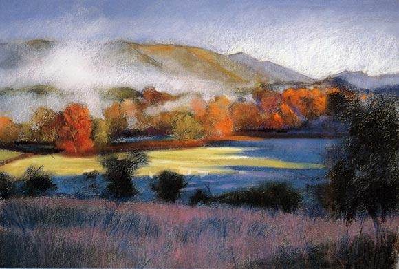 pastel landscape painting, how to paint with pastels, pastel art tutorial