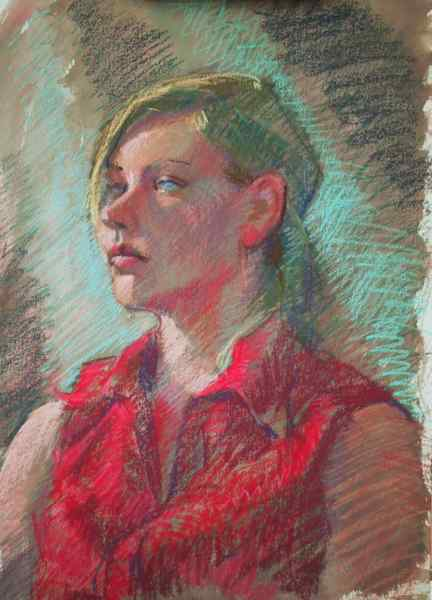 watercolor and pastel, portrait demo