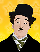 Charlie Chaplin in bowler hat, pop art print
