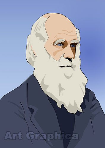 CHARLES DARWIN art print, canvas, limited edition signed