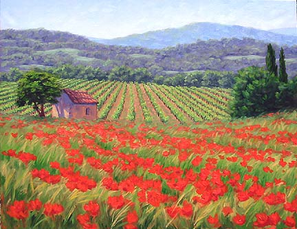 jennifer young, poppy landscape, oil painting demonstration