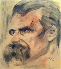 free art lesson, portrait drawing, charcoal sketch drawing, friedrich nietzsche