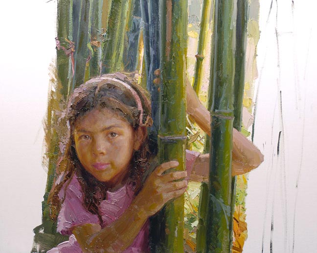 painting girl with bamboo