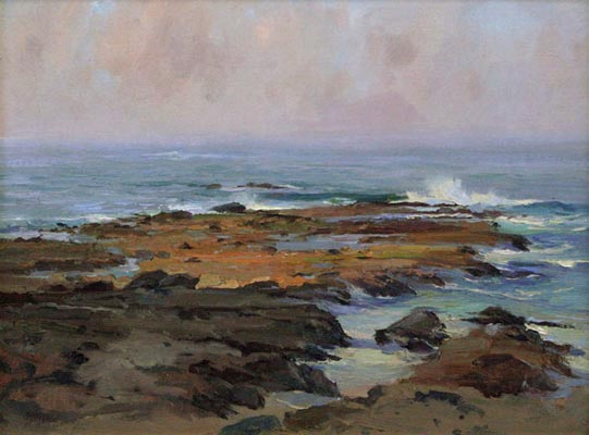 ocean and rocks, oil painting lesson