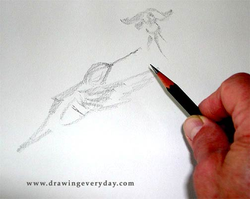 bird sketch, how to sketch, beginner's sketching lesson