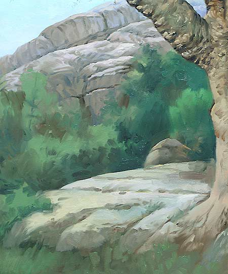 tree and rocks landscape art demo