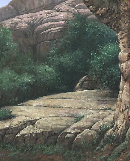 painting rocks, trees,landscape
