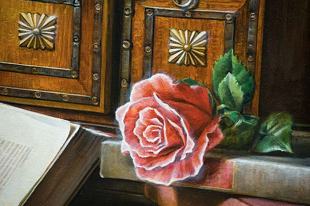 rose painting, chest