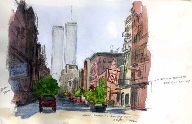 new york lower broadway, twin towers painting