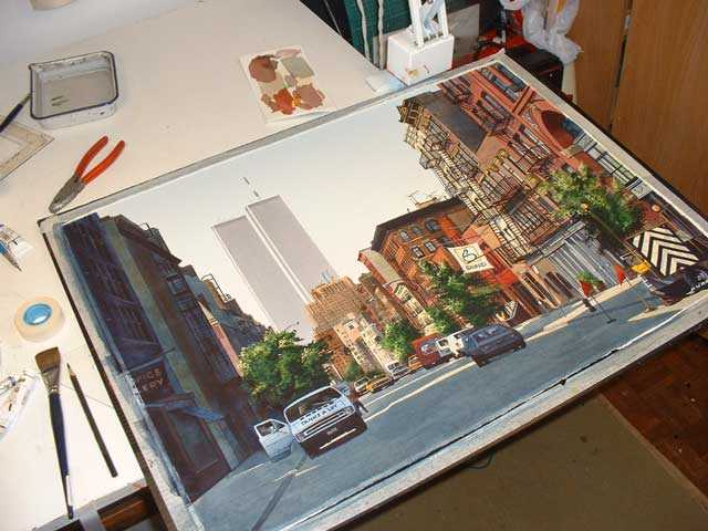 new york painting, watercolour gouache tutorial
