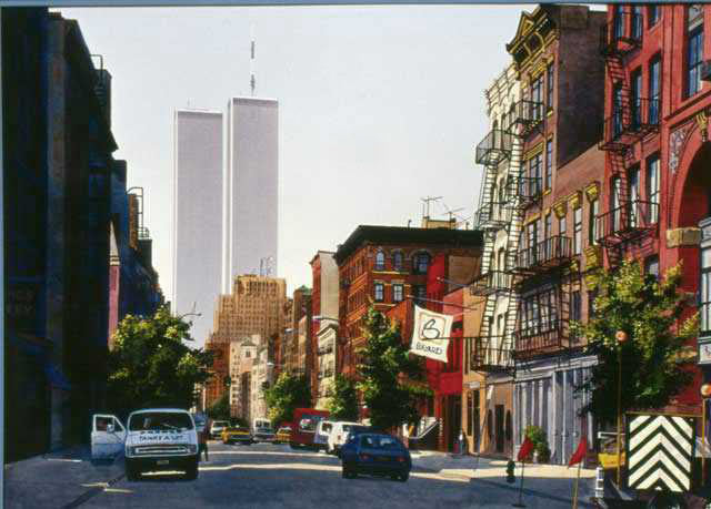 ny twin towers, 1982, watercolour painting, free art tutorial