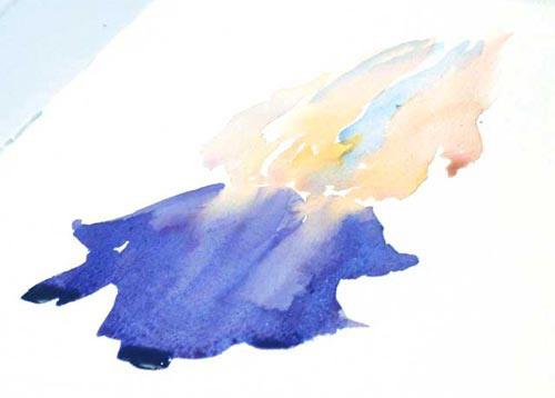 watercolor painting flowers. backwashes, watercolor petal