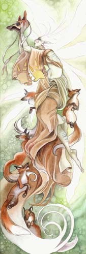fantasy foxes, fox fantasy art,  glazing watercolors, free watercolor demo