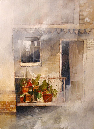 gesso and watercolor
